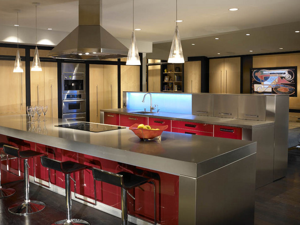 Modern-luxury-kitchen-with-big-furniture-glossy-plots-high-bar-chairs-red-details